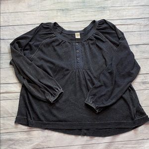 Free People We the Free Babydoll Henley Top sz M